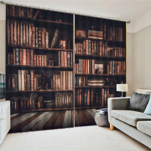 Image 1 - Bookcase Living Room Digital Print 3D Blackout Curtains Watercolor for Bedroom Decor Window Treatment Polyester Decoration Oct29