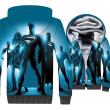 Super Hero Superman Batman The Flash Green Lantern Wonder Women Print 3D Hoodies 2019 Winter Thick Warm Jacket Mens Sweatshirts