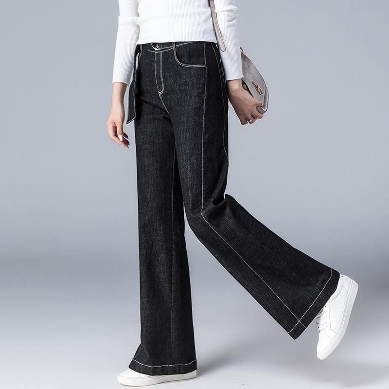 Allentato Pantaloni E Qualità Donne Black A Larga Alta Inverno Jeans Makuluya Gamba Moda Dritto Femminile Fasce Impiombato Delle Autunno Qw Fiocchi Di Nero OqUXnwp