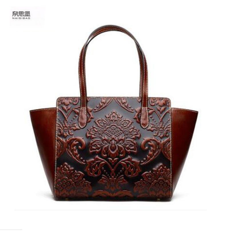 Women bag 2017 New genuine leather bag chinese style embossing fashion women handbags shoulder bag perfectly leather Pillow bag