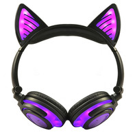 LIMSON Foldable Headset Stereo Purple Earphones Cat Ear Flashing Wireless LED Light Headphones with Gift Box