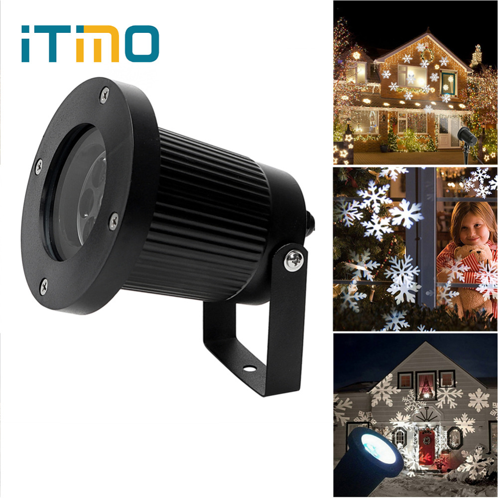ITimo Holiday Lighting Snowflake LED Stage Light New Year Christmas Moving Snow Laser Projector Lamp Landscape Garden Waterproof