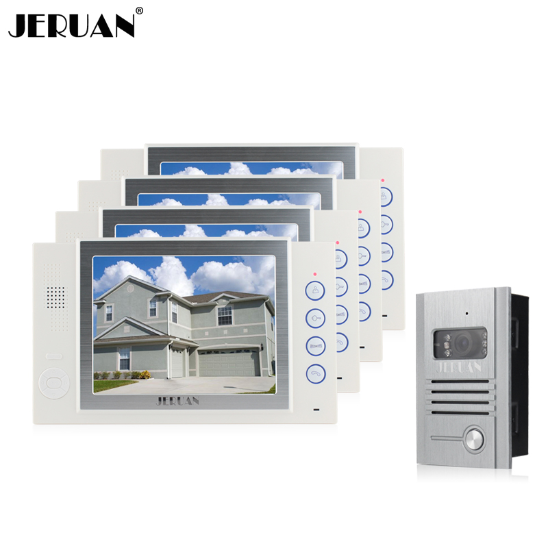 JERUAN 8 inch TFT LCD Screen video door phone intercom system One to Four Video Doorphone support video recording photo taking jeruan 8 inch video door phone high definition mini camera metal panel with video recording and photo storage function