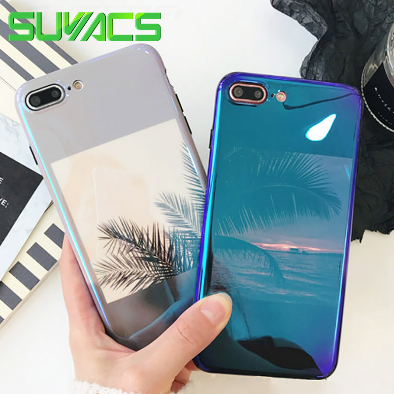 SUYACSH Shiny <font><b>Blu-ray</b></font> Laser Phone Case For iPhone 6 6S 7 8 Plus X Retro Coconut <font><b>Tree</b></font> Leaves <font><b>Sea</b></font> Sunset Soft Silicon Cases Cover