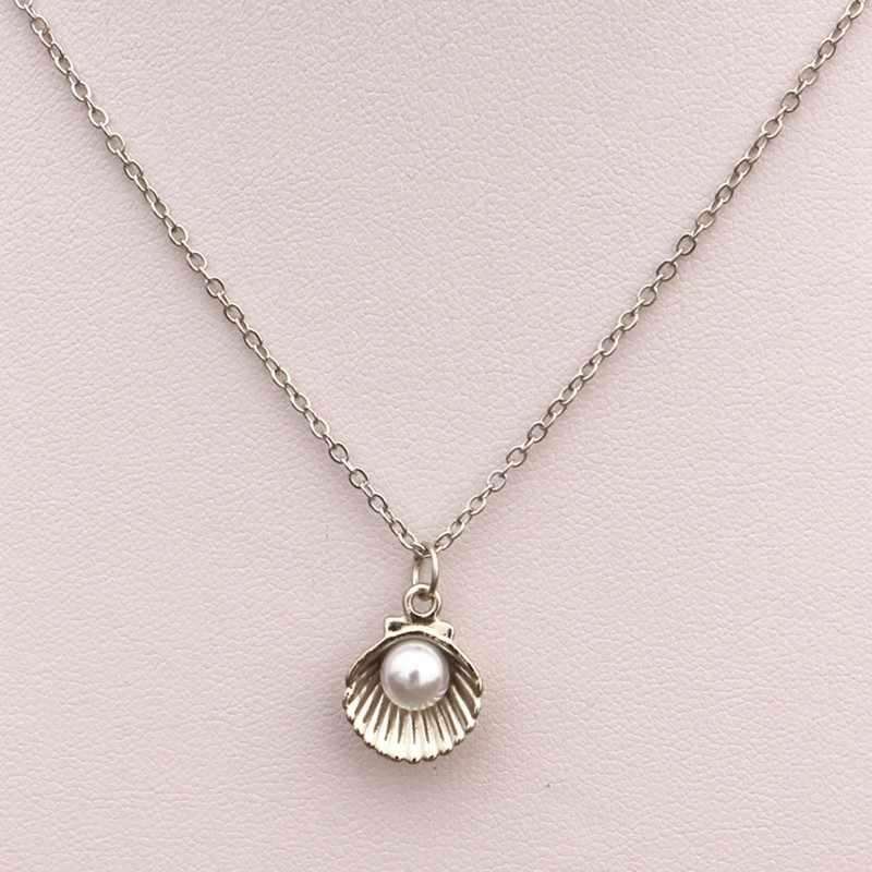 NK940 gorąca Collares złoty łańcuch mężczyźni Bijoux imitacja Pearl Shell wisiorek naszyjnik dla damski łańcuszek biżuteria oświadczenie collier colar
