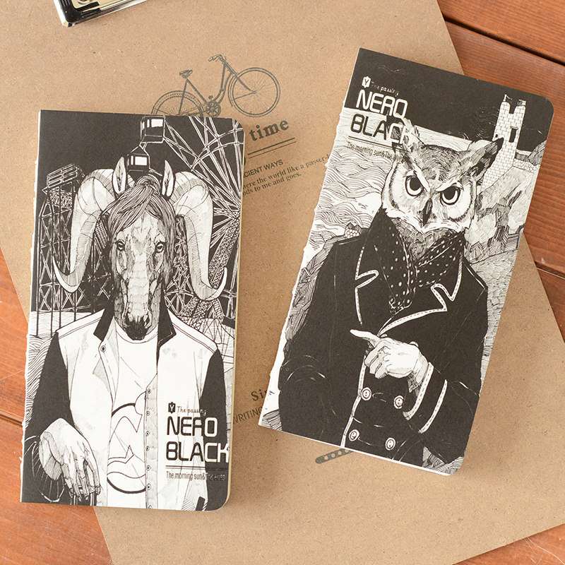 Cool Art Sketchbook Cover : Pcs lot nero black punk style cool animal cover notebook
