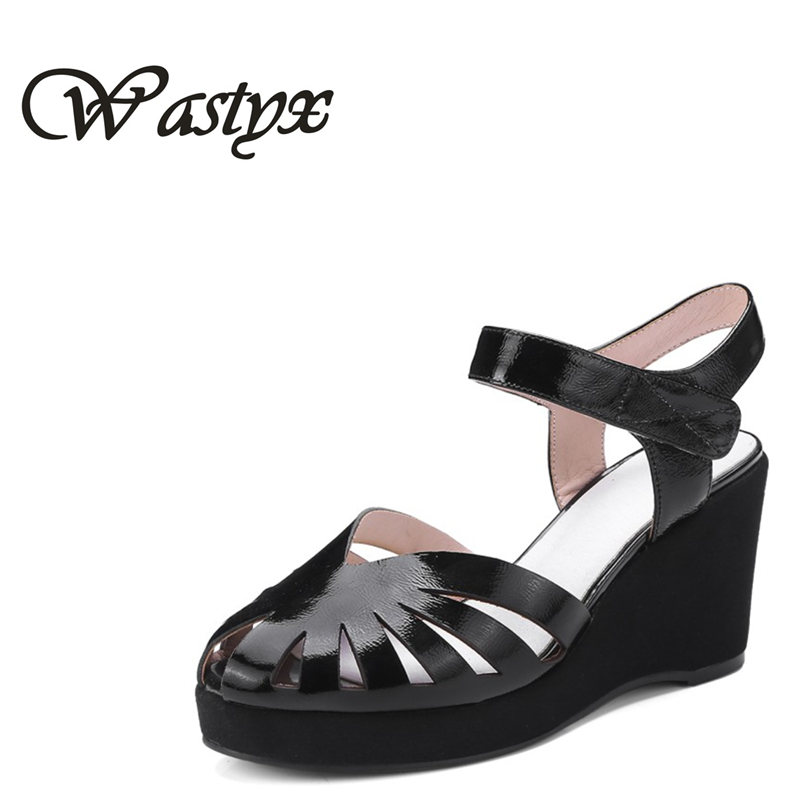 Wastyx new 2018 genuine leather sandals fashion wedges heel women shoes summer high heels buckle strap zapatos mujer black red new rhinestone women sandals ankle buckle strap fashion open toe comfortable chunky high heels red black shoes zapatos mujer