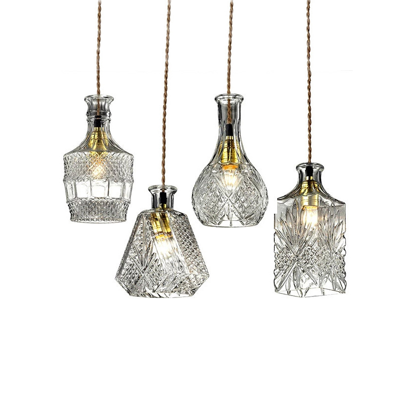 Retro Vintage Pendant Lights Clear Glass Lampshade Bottle Pendant Lamps E27 110V 220V for Dinning Room Home Decoration Lighting 100pcs new 2ml clear glass roll on bottle with clear cap