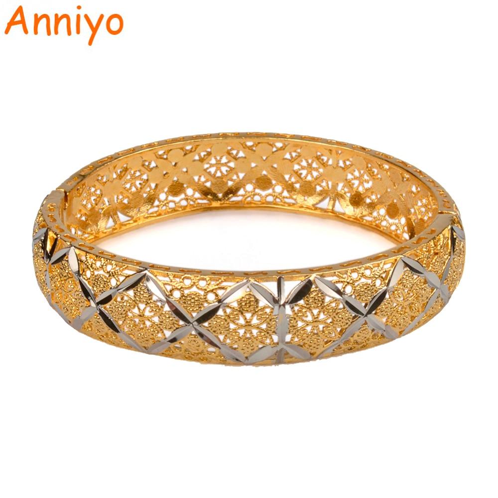 Anniyo 6cm/2.36inch Ethiopian Bangle for Women Mixed Silver & Gold Color Dubai Wedding Bracelet African Arab Jewelry #072906B