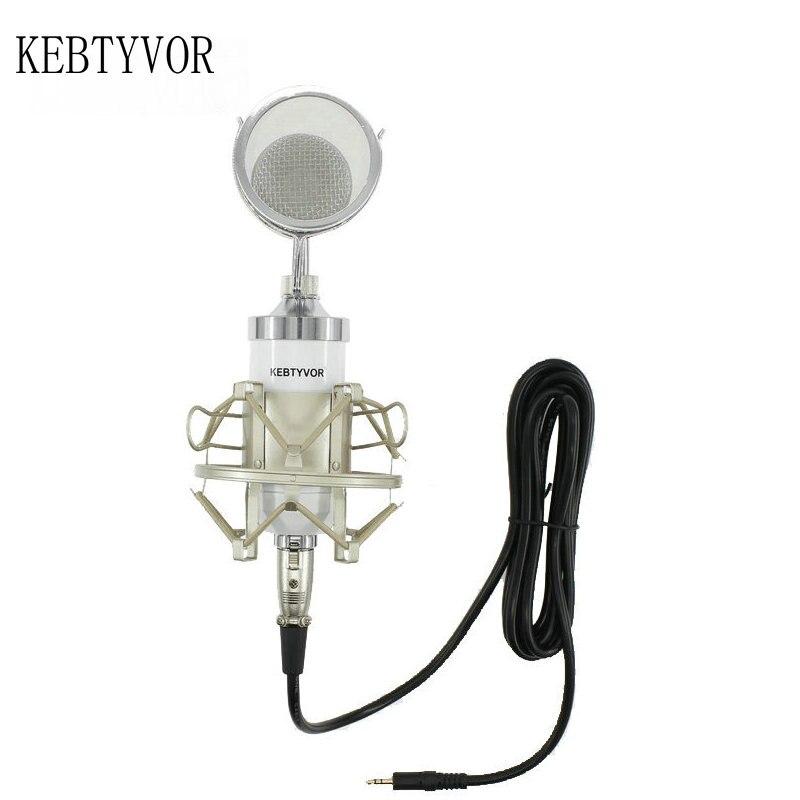 Profissional bm 8000 gravação de estúdio de som microfone condensador com 3.5mm plug suporte para gravação de áudio pessoal ktv