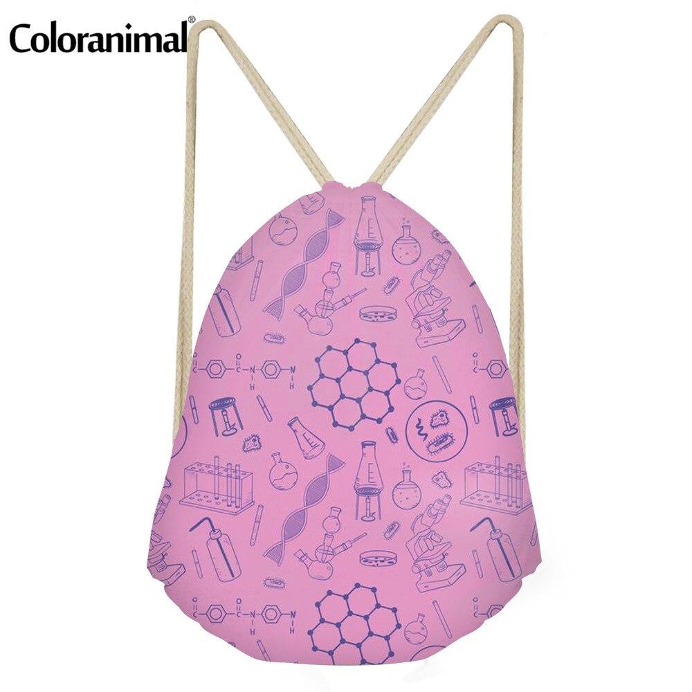 Coloranimal Men String Backpack Science Teacher Drawstring Bag 3D Print Women Men's Casual Cute Cartoon Boy Girl Mini Beach Bags