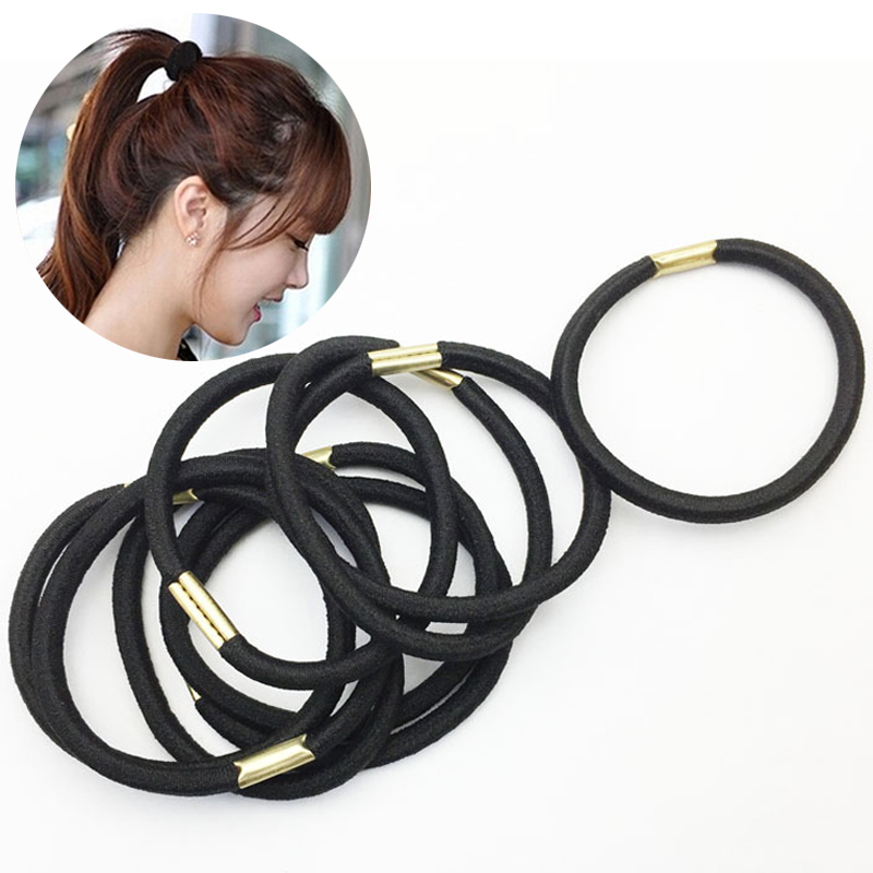 Fashion 3 Pcs/Lot  Women Girl Black Cute Rubber Elastic Bands Ponytail Holder Hair Rope Accessories