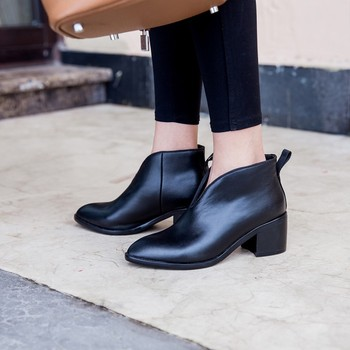 MLJUESE 2019 women ankle boots soft cow leather autumn spring black color pointed toe high heels women boots