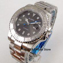 9e7f7f55a8e Vidro de safira BLIGER 40mm cinza dial cerâmica moldura relógio luminous  marcas MIYOTA movimento automático dos homens de pulso .