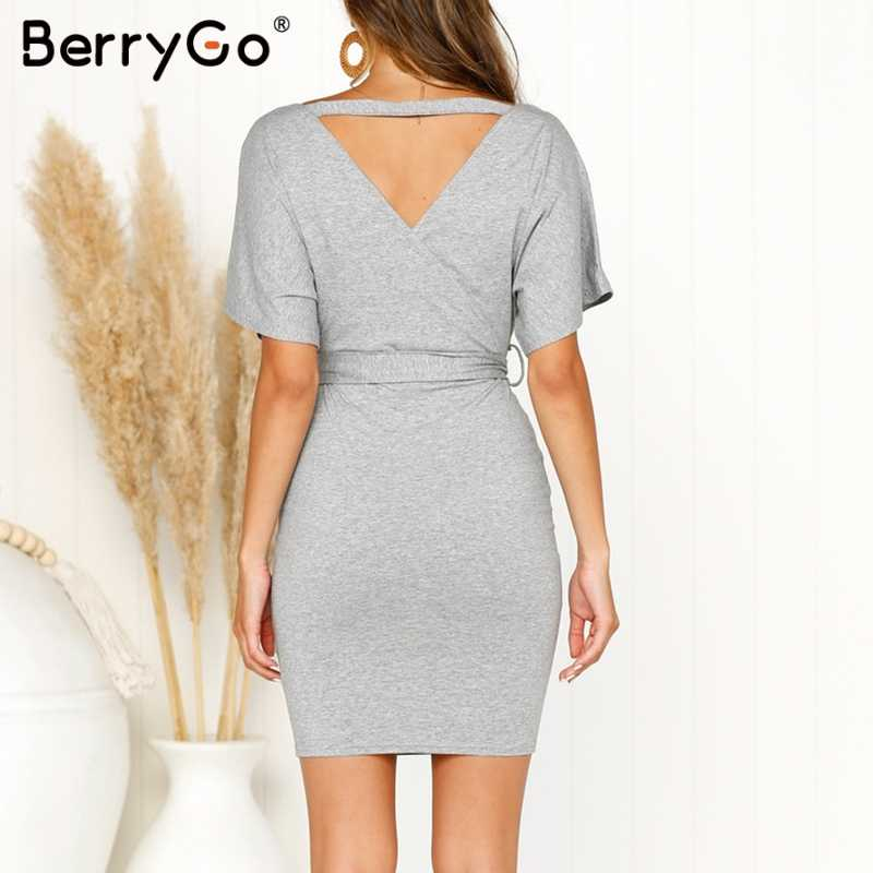 ea82f2dfec ... BerryGo Sexy bodycon women dress Batwing sleeve sashes v neck summer  spring short dresses Elegant party ...