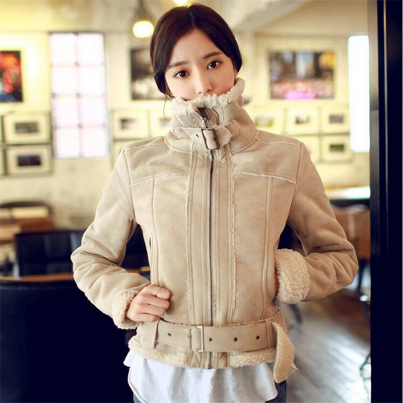 ФОТО 2016Autumn and Winter Jacket Women Suede Lambs Wool Coat Thick Cotton Padded Coats Fashion Jacket Female Parka Coat A2663