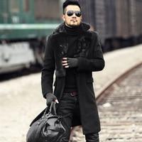 Men new winter black warm stretch woolenslim long coat European style metrosexual man fur collar brand design outwear coat