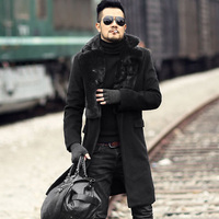 Men new winter black warm stretch woolenslim long coat European style metrosexual man fur collar brand design outwear coat
