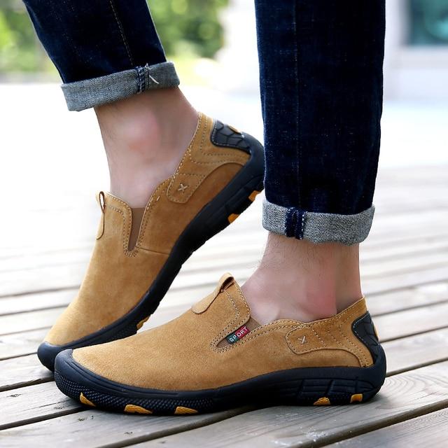 Zapatos planos ocasionales cómodos, zapatos hechos a mano para los hombres, zapatos suaves de conducción.