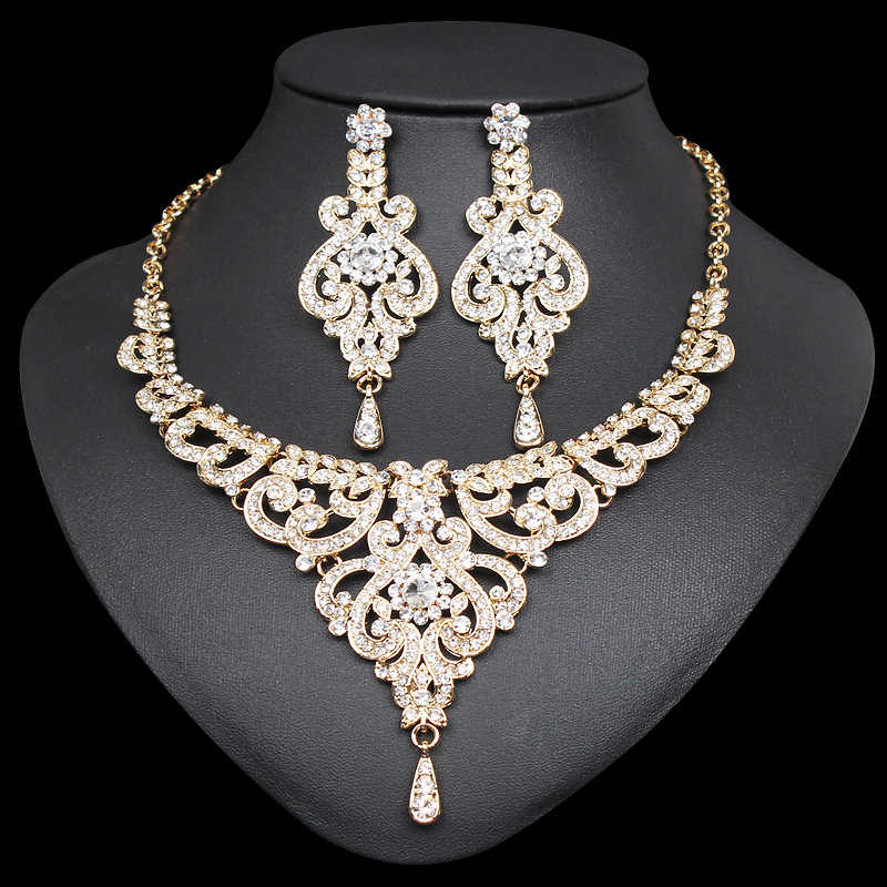 Elegant Indian Bridal Necklace Earrings Sets Dubai Jewelry Sets for Women Silver / Gold Color Wedding Party Costume Accessories