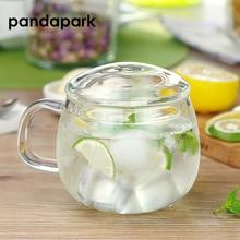 Pandapark, светильник с двойными стенками, стеклянная кружка, чайный стакан с деревянной крышкой, ложка, подарок, высокая разница тепла, молочные кружки PPX029