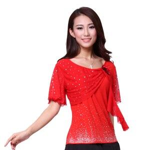 Image 5 - Kadın Latin dans giyim Yeni Dantel Iki Çiçek üst Kare Dans giysi Kristal pamuk Kısa Kollu Yuvarlak boyun üst satılık
