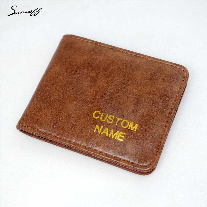 SMIRNOFF New Male Purse Custom Name Men Wallet Short PU Leather Men Purse Card Holder Men Small Wallet 2016 new arriving pu leather short wallet the price is right and grand theft auto new fashion anime cartoon purse cool billfold