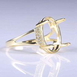 Stałe 10k żółte złoto naturalne diamenty pierścionek zaręczynowy 14x10.5mm owalne Cabochon mała biżuteria ślubna