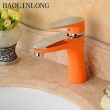 купить BAOLINLONG Baking finish Brass Basin Deck Mount Bathroom Faucet Vanity Vessel Sinks Mixer Tap дешево