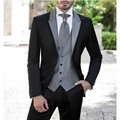 Envío Libre Nuevo Estilo Traje de Los Hombres Con La Astilla Gris Chaleco de Esmoquin padrinos de boda Slim Fit 3 Unidades Set, Para Los Hombres Traje de Boda de la venta Caliente