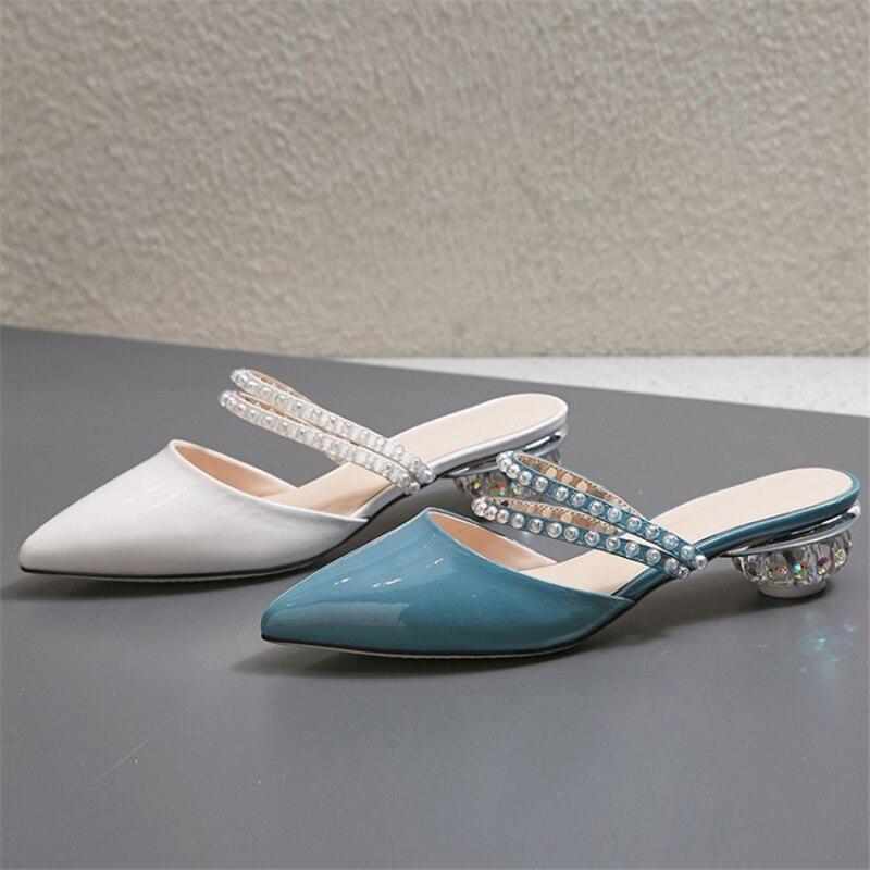 Ouqinvshen Kristal Gaya Aneh Mules Sepatu Wanita Plus Ukuran 33-42 - Sepatu Wanita - Foto 4