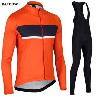 Ratddw inverno homens inverno térmica velo ciclismo jersey manga comprida ciclismo roupas define ropa ciclismo bicicleta roupas orange
