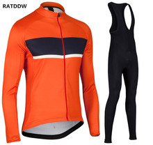 RATDDW Winter Thermal Fleece Cycling Jersey Long Sleeve Men Winter Cycling Clothing Sets Ropa Ciclismo Bicycle Clothing Orange