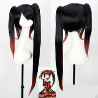 100cm/39 DATE A LIVE Tokisaki Kurumi wig with Bangs Clip Ponytails Comic con Nightmare Black Long ponytials wig costumes