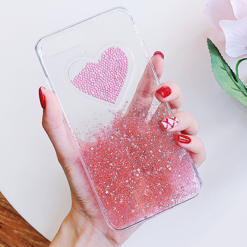Liquid Glitter Case For iPhone 7 8 6 Plus X Cases Fo iPhone 6S Case Lovely Heart Quicksand Dynamic Clear Cover For iphone 8 Case (2)