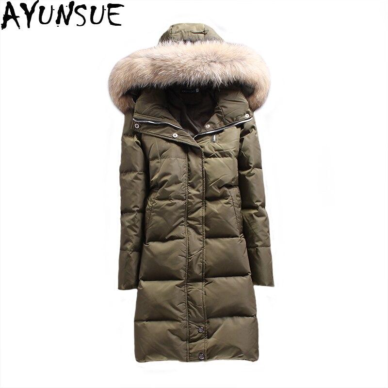 Real Fur 2018 Women Long Down Jacket Slim Warm Woman White Duck Down Coats Puffer Jacket Female Winter Jackets Parka Mujer ST452