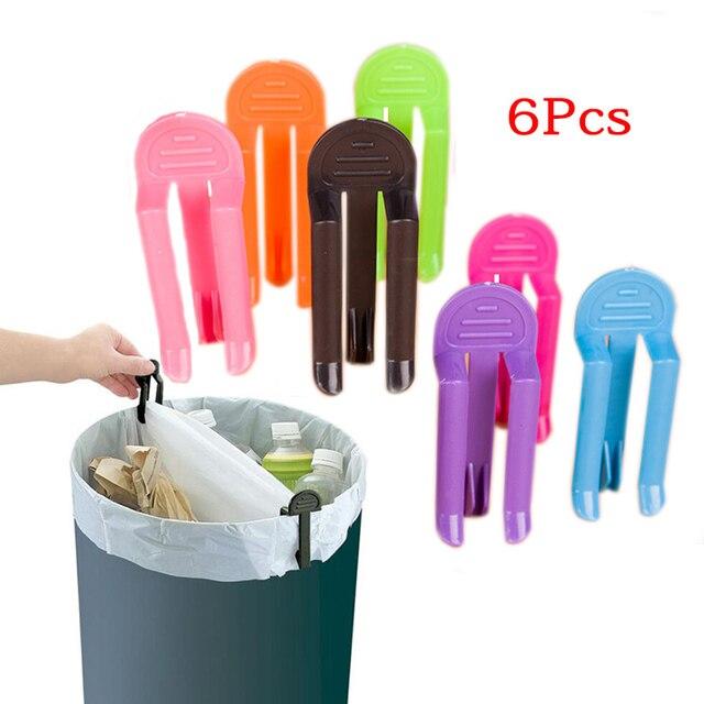 6 sztuk/partia plastikowy kosz na śmieci zaciski na śmieci klipsy do woreczków stałe uchwyt na torebkę na śmieci Rack kuchnia łazienka akcesoria kolor losowo