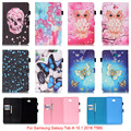 For Samsung Galaxy Tab A 10.1 2016 T580 Case Mandala Butterfly Skull Flower Pattern Tablet Back Cover with Stylus holder Funda