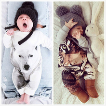 2016 New Baby Animal Costume Onesie Cute Romper Jumpsuit Coverall Lovely Panda Tiger Rompers for Kids Autum Winter