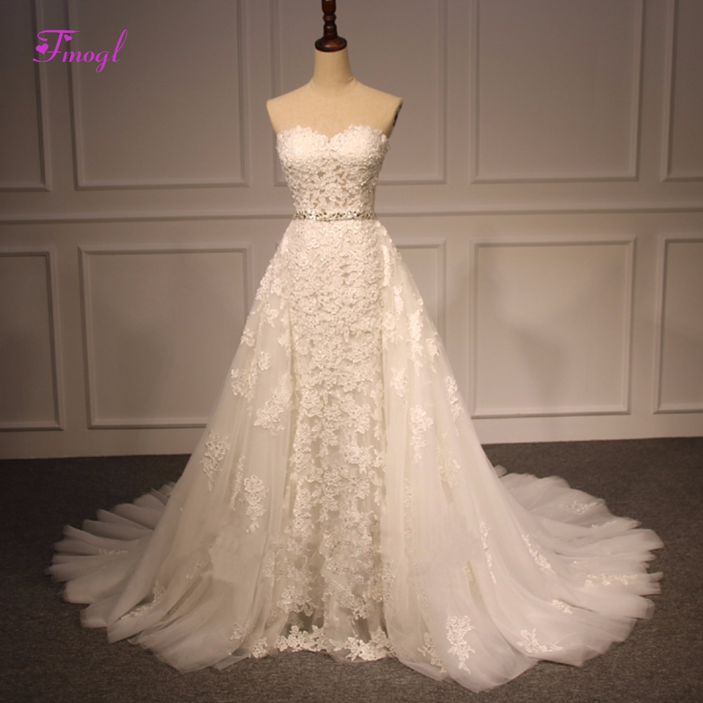 Fmogl Sexy Strapless Lace Up Beaded Mermaid Wedding Dress 2018 Appliques Detachable Train Trumpet Bridal Dress Vestido de Noiva