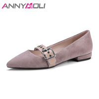 ANNYMOLI Genuine Real Leather Shoes Women 2018 Flats Spring Pointed Toe Buckle Studded Shoes Suede Leather