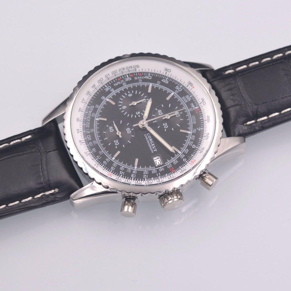 46mm Corgeut schwarz Quarz herren uhr sport uhr VOLL Chronograph Leder-in Quarz-Uhren aus Uhren bei  Gruppe 2