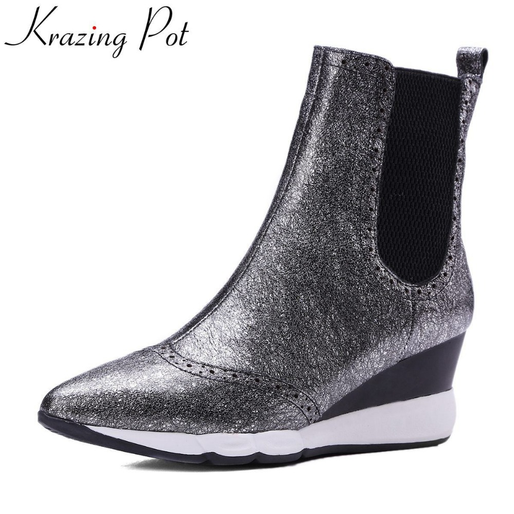 Krazing Pot 2018 fashion genuine leather pointed toe slip on wedge winter boots casual runway nightclub women Mid-Calf boots L26 nayiduyun women genuine leather wedge high heel pumps platform creepers round toe slip on casual shoes boots wedge sneakers