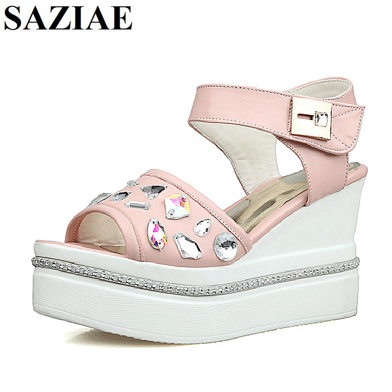 [SAZIAE] Women Fashion Slippers Sandals Summer Flip-flops Wedges Shoes Woman Platform Slipper Rhinestone Women Open-toe Shoes phyanic 2017 gladiator sandals gold silver shoes woman summer platform wedges glitters creepers casual women shoes phy3323