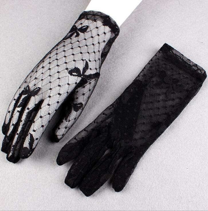 Women's Spring Summer Sunscreen Black Mesh Gloves Female Uv Protection Breathable Sexy Perspective Lace Driving Glove R1130
