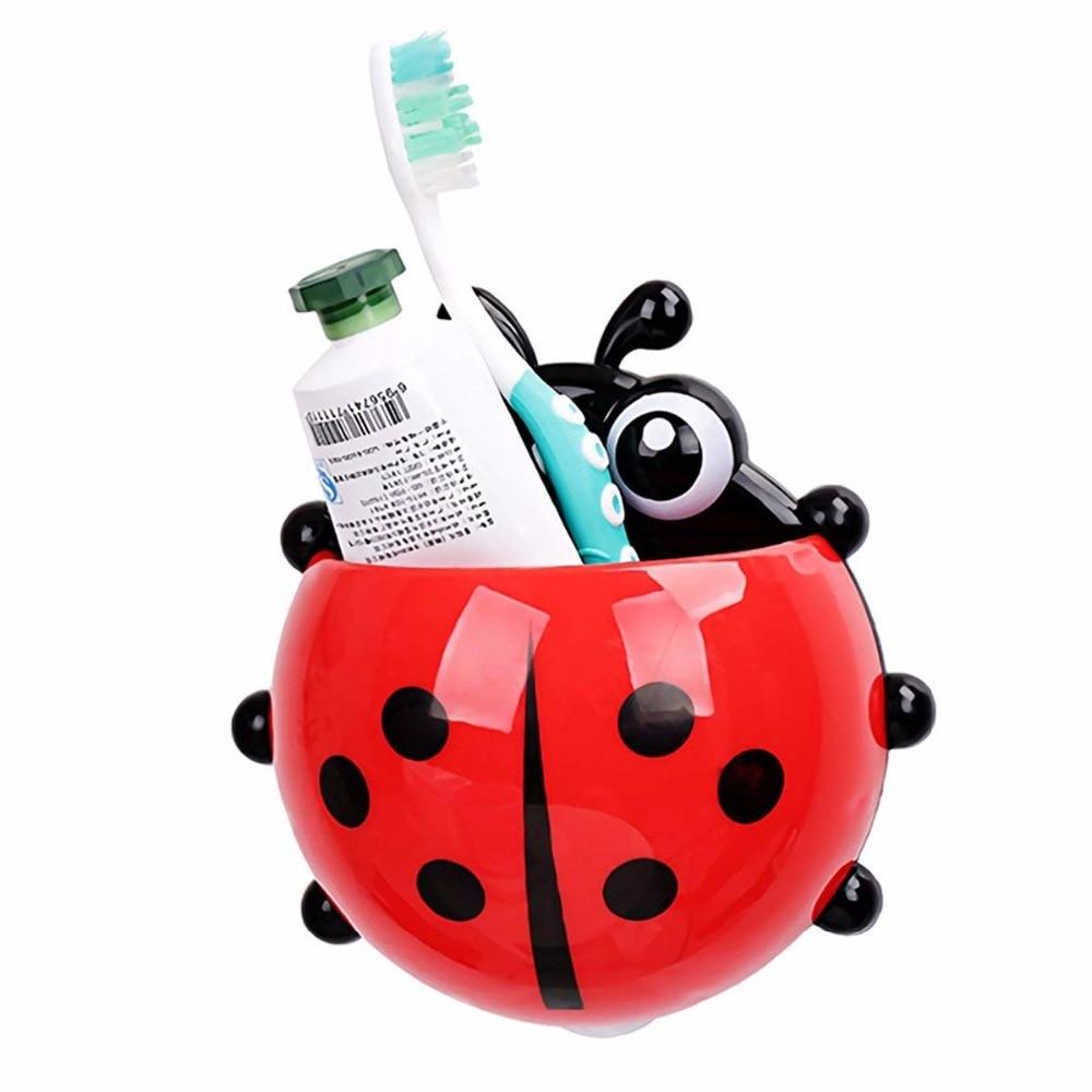 Joaninha Conjuntos de produtos de Higiene Pessoal Creme Dental Titular titular escova de dentes Banheiro Ganchos de Sucção Escova de Dentes recipiente joaninha na venda