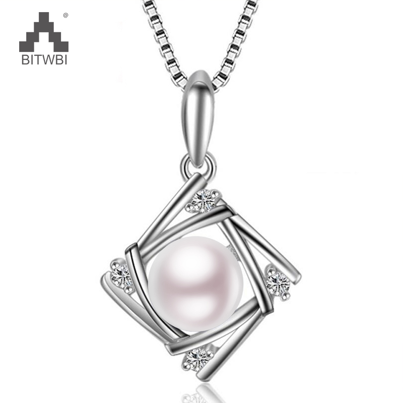 100% 925 Sterling Silver Hollow Square Zircon Necklace for Women Natural Pearl Pendant Fashion Jewelry
