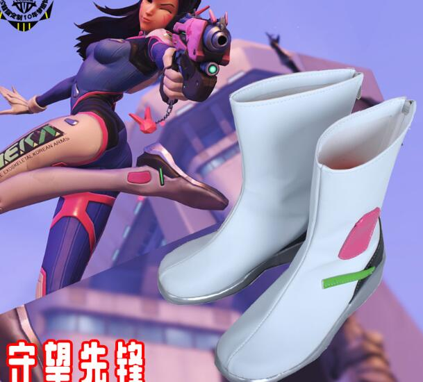 Game OW <font><b>DVA</b></font> Over and Watch D.VA Cosplay Custume Boots Flat Heel Custom <font><b>Shoes</b></font> Halloween image