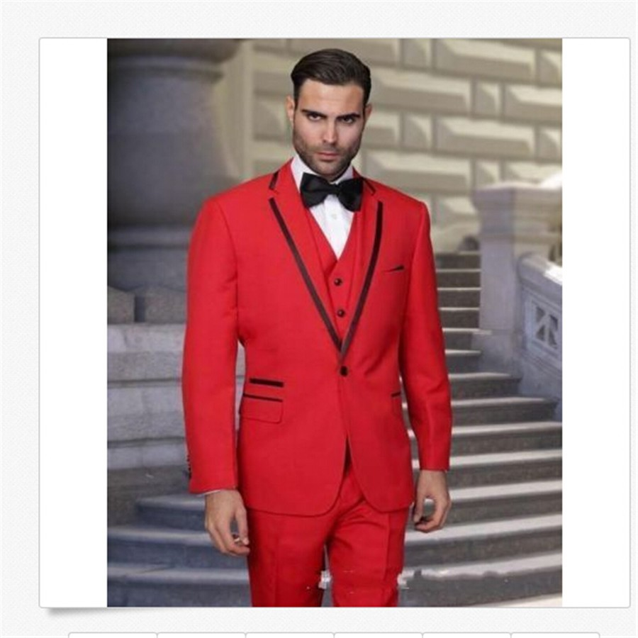 US $98 1 10% OFF Red man suit three piece satin lapels groom dress  (wedding) best man suit custom made fashion handsome-in Suits from Men's  Clothing