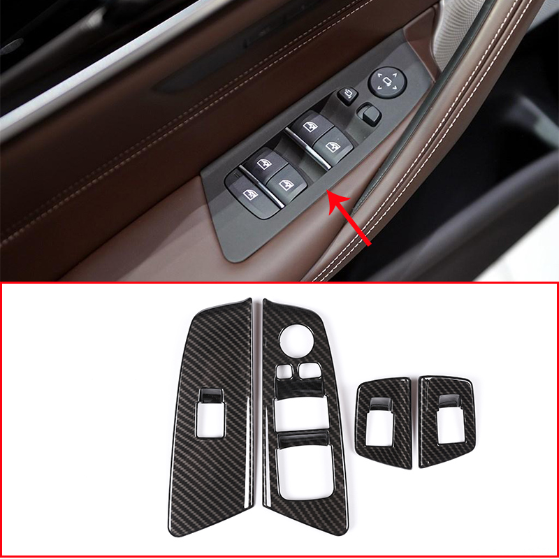 4 pcs fibra de carbono estilo do carro abs chrome porta interruptor da janela elevador quadro